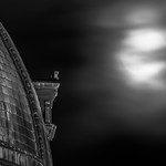 "The November 14, 2016 ""supermoon"" looms over the dome of Budapest's Szent Istvan Basilica."