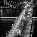 Traffic over Da Nang's Dragon Bridge lights the night.