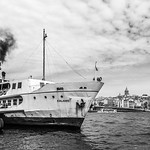 One of Istanbul's passenger ferries floats at Eminönü dock.