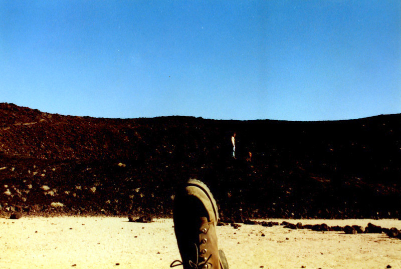 Inside Amboy Crater, George M, Marcus and my Foot - 1995