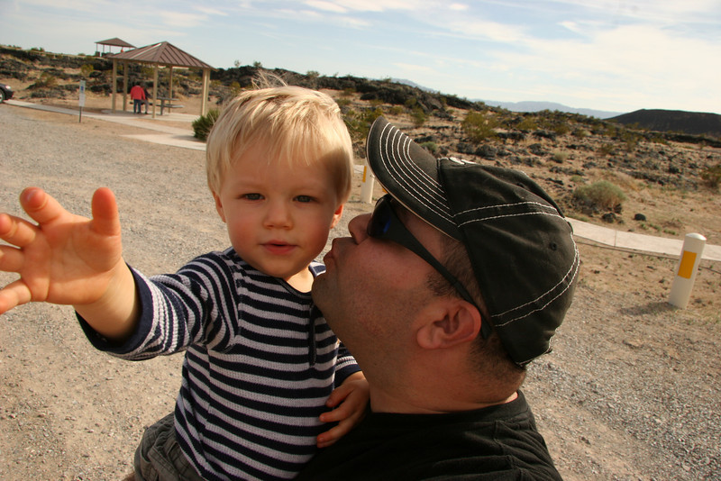 Skyler and Adrian at Amboy Crater Parking Lot - 2009