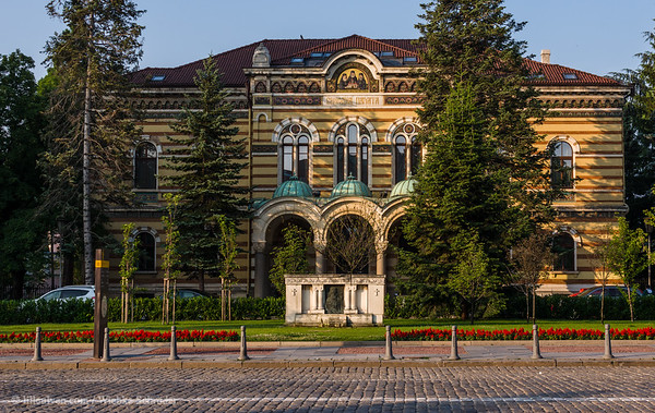 Off the beaten track – Belogradchik - Holy Synod of the Bulgarian-Orthodox Church (Българска патриаршия - Свети Синод) Sofia, Sofia City Province, Bulgaria    The holy synod is the highest body of the Bulgarian orthodox church. This highly decorated building was build in 1908, much of the original sculptural ornaments were unfortunately destroyed during the second world war.  The mosaic in the top middle depicts Ilarion Makariopolski, Avxenty Veleshki and Paisiy Plovdivski, who fought for an independant church.