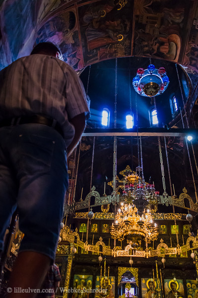 Inside the main church of the Troyan Monastery, the