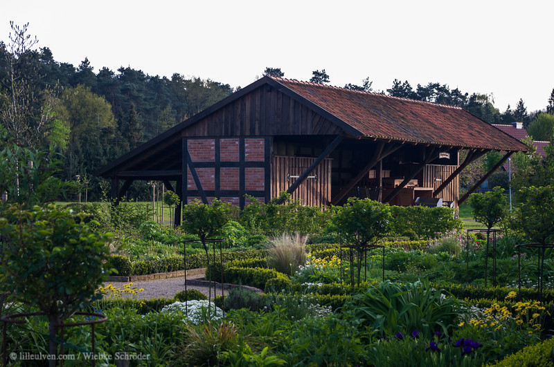 Flower garden and wagon house