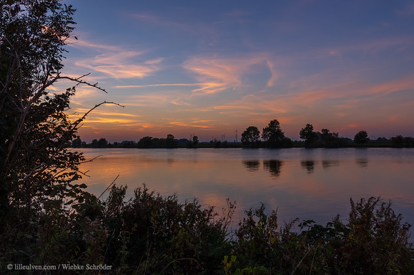 Sunset over the river Weser