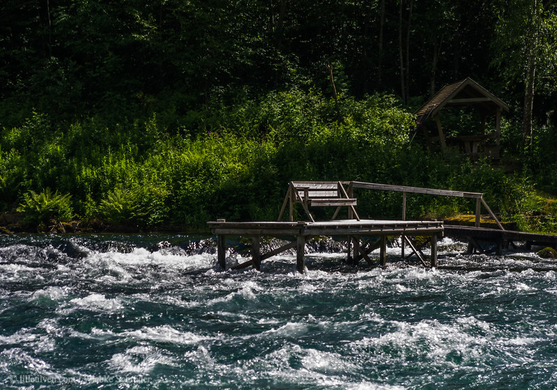 Salmon catching area in Helvetesfossen - Fall of Hell - in Sogn and Fjordane. The river is the connection between a side arm of the Sognefjord and the Hafslovannet, a glacial lake near the small town of Hafslo.