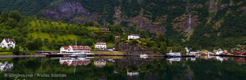 Flåm is a famous little town, starting point of the Flåmsbanen. Many cruise ships will stop their journey here for a day giving their passengers a chance to take the train up to Myrdal and to enjoy not only the sights but the spectacular railway construction with a tunnel where the train actually rides in a circle to make the steep climb.