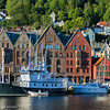 Bryggen in Bergen with Skansen in the background