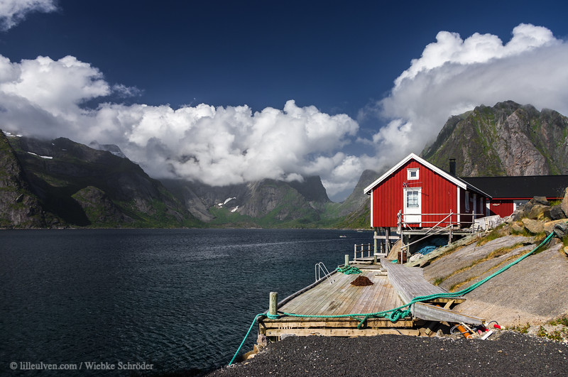 The traditional fishermans home — nowadays mostly used for holiday guests. This photo is taken on Lille Toppøya, a part of the Lofoten. This photo is published in Lille Ulven Photography's Lofoten calendars.