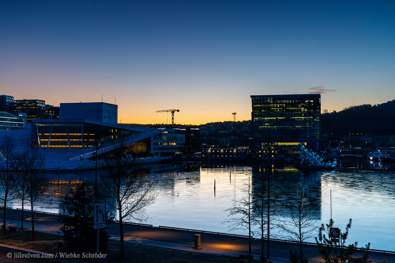 Sunrise over the Opera and the Munch Museum.