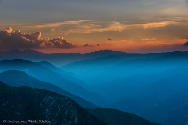 Sunset and fog over the Rhodope Mountains