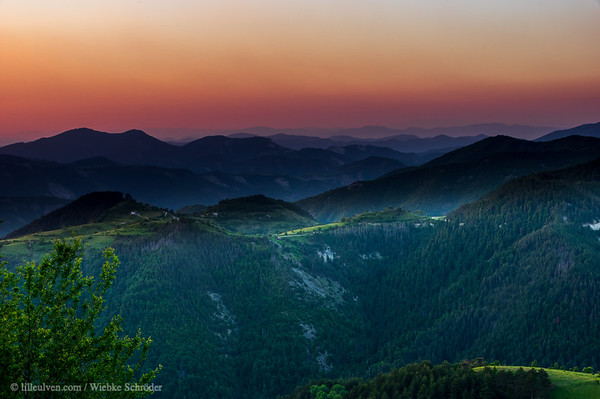 Sunrise over an abandoned village in the Rhodope Mountains