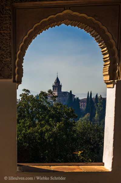 Alhambra seen from the Western Pavilliion in the Generalife