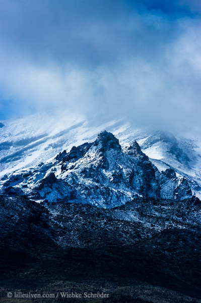 Mount Ruapehu in the Tongariro National Park in New Zealand. The name of the mountain means in English