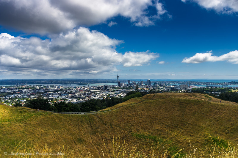 Skyline of Auckland as seen from Mount Eden