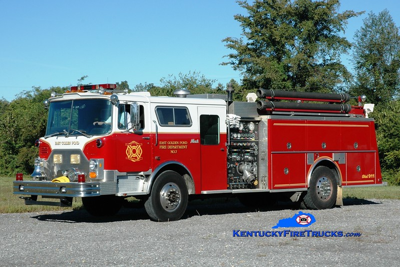 <center> East Golden Pond  Engine 7 <br> x-Kingsville, MD <br> 1989 Mack CF/KME 1500/1000 <br> Greg Stapleton photo </center>