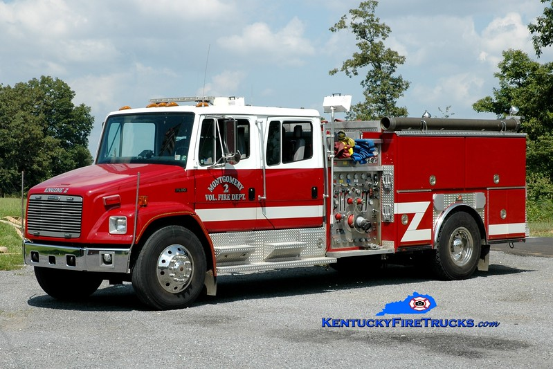 <center> Montgomery  Engine 2 <br> x-Westmoreland City, PA <br> 1996 Freightliner FL80/Ferrara 1500/500 <br> Greg Stapleton photo </center>