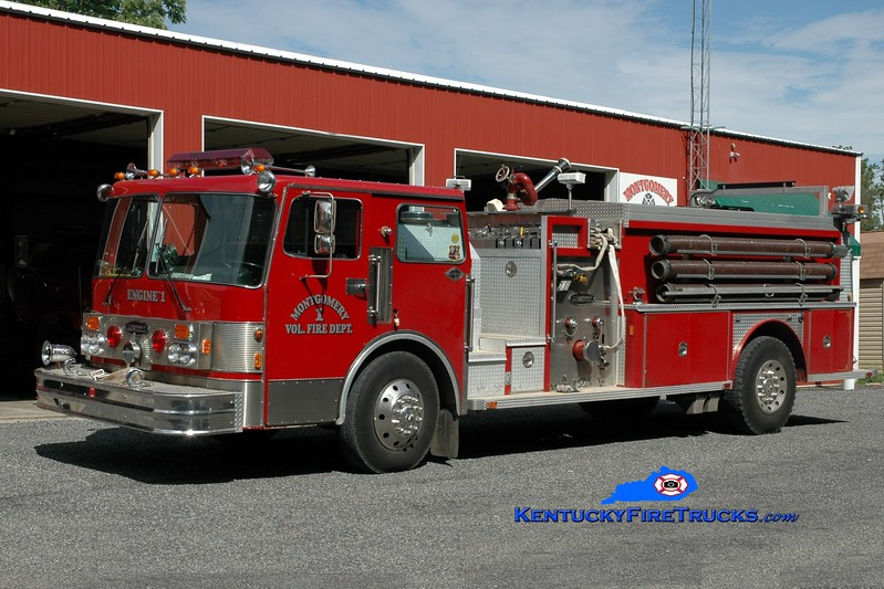 <center> Montgomery  Engine 1 <br> x-West Crescent, NY  <br> 1983 Spartan Monarch/E-One 1500/1000 <br> Greg Stapleton photo </center>