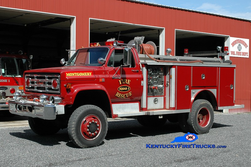 <center> RETIRED <br> Montgomery  Squad 3 <br> x-Marion, MA  <br> 1981 GMC 7000 4x4/E-One 250/500 <br> Greg Stapleton photo </center>