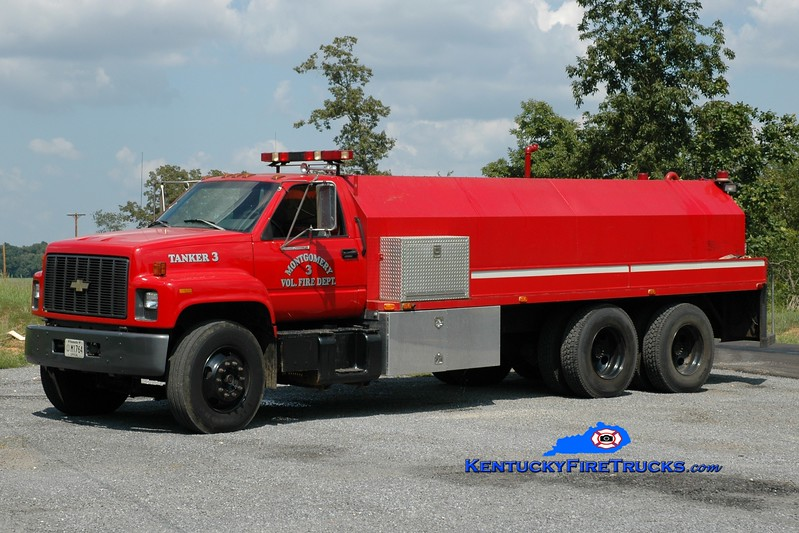 <center> Montgomery  Tanker 3 <br> 1996 Chevy Kodiak/Parks Fire Apparatus 250/3300 <br> Greg Stapleton photo </center>