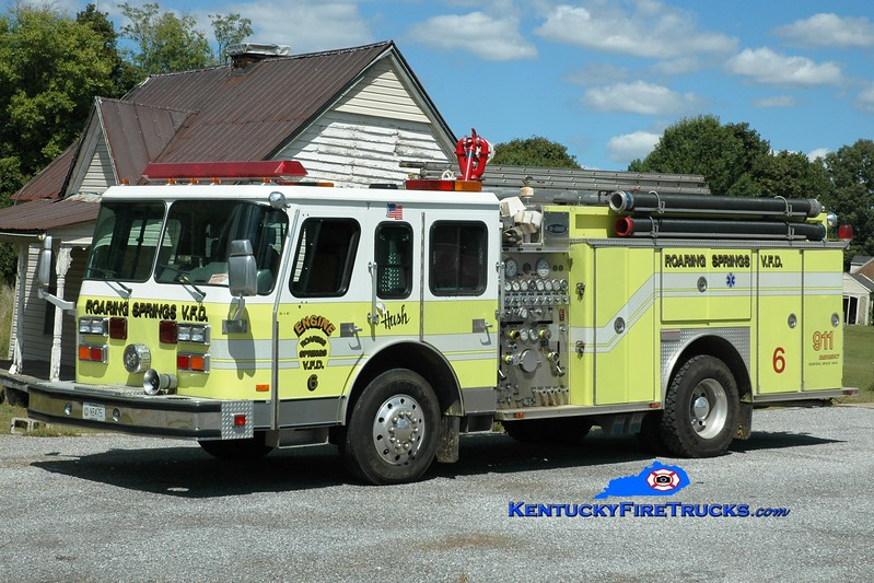 <center> Roaring Springs  Engine 6 <br> x-Biddeford, ME <br> 1989 E-One Hush 1250/500 <br> Greg Stapleton photo </center>
