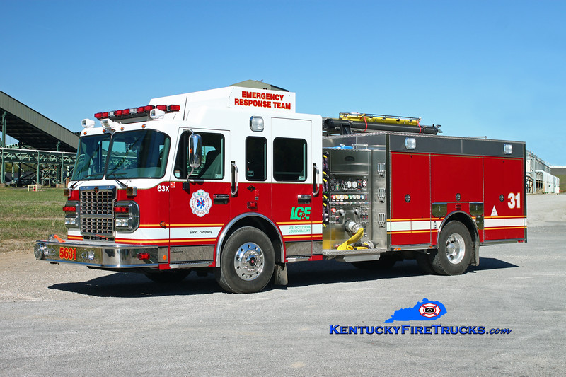 <center> Louisville Gas & Electric  Engine 5631  <br> 2010 Spartan Gladiator/Toyne 1500/700/50 <br> Kent Parrish photo </center>
