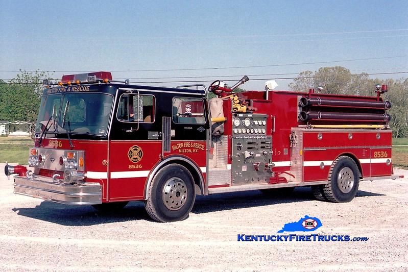 <center> RETIRED <br> Milton  Engine 8536 <br> *Repainted <br> x-Hughesville, PA <br> 1983 Spartan/Boyer 1250/1600 <br> Greg Stapleton photo </center>