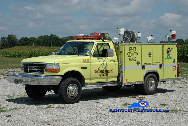 <center> Milton  Brush 8571 <br> x-Rescue 8581 <br> 1992 Ford F-350 4x4/Reliable  <br> Greg Stapleton photo </center>