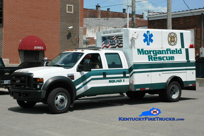 <center> Morganfield Rescue Squad 1 <br> 2007 Ford F-450 4x4/Warner  <br> Greg Stapleton photo </center>