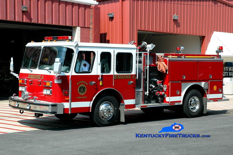 <center> Sturgis  Engine 3 <br> x-Topeka, KS <br> 1990 E-One Protector 1250/750 <br> Greg Stapleton photo </center>