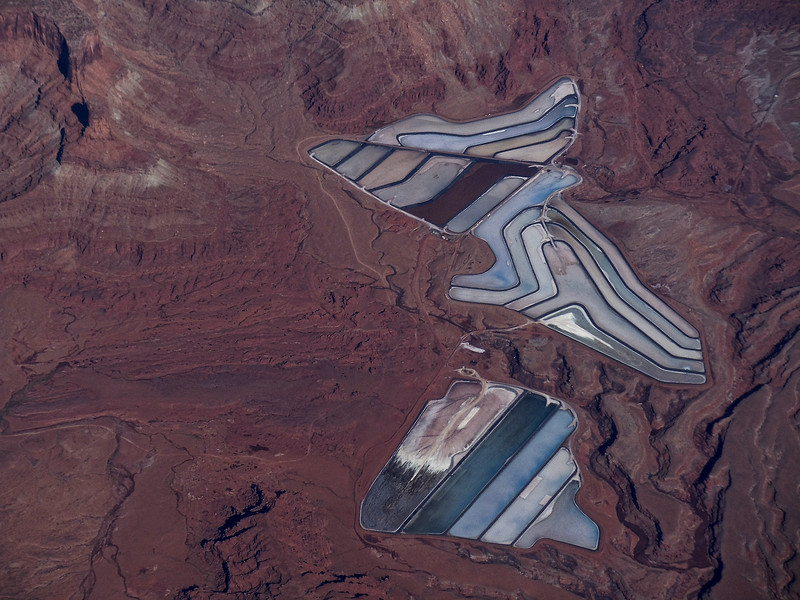 Potash Ponds (from 30,000 ft.) near Moab, UT