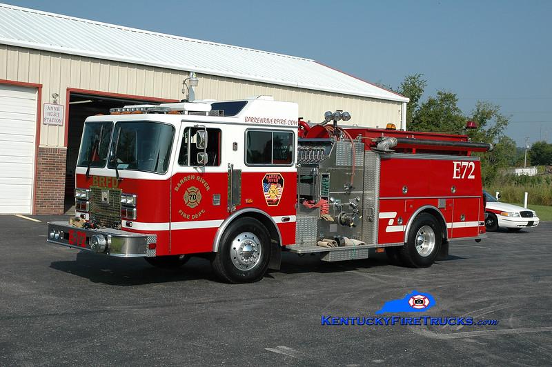 <center> Barren River Engine 72 <br> x-Cocoa, FL <br> 1993 KME Renegade 1250/500 <br> Greg Stapleton photo </center>