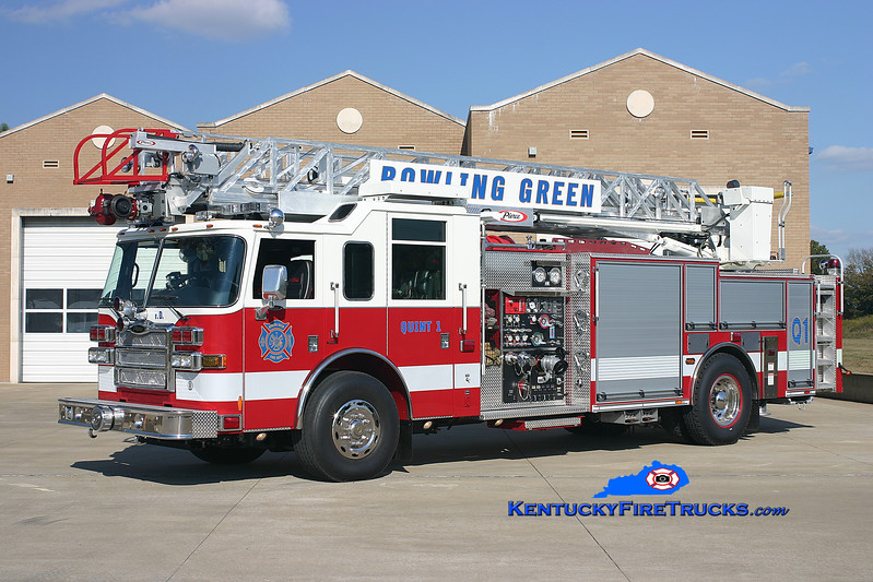 <center> REASSIGNED <br> Bowling Green, KY  Quint 1 <br> 2007 Pierce Dash 1500/500/30/75' <br> Kent Parrish photo </center>