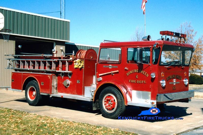 <center> RETIRED <br> Bowling Green   Pumper 6  <br> x-Pumper 5 <br> 1971 American LaFrance Pioneer 1000/500 <br> Greg Stapleton photo </center>