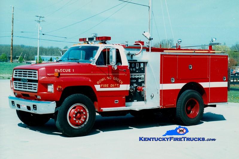 <center> RETIRED <br> Bowling Green  Rescue 1 <br> 1985 Ford F/Pierce 250/400 <br> Greg Stapleton photo </center>