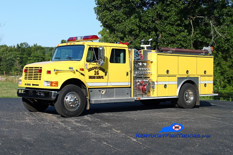 <center> Browning  Engine 16 <br> 1995 International 4900/E-One 1250/1000 <br> Kent Parrish photo </center>
