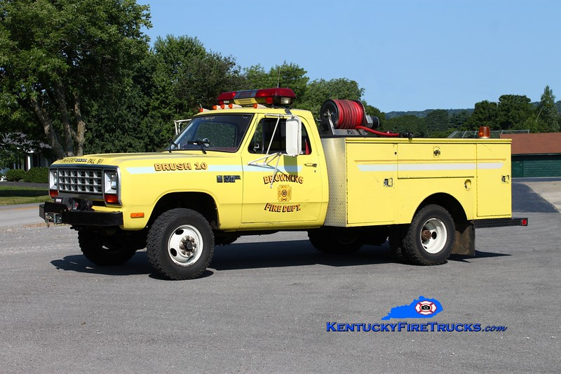 <center> RETIRED <br> Browning  Brush 10 <br> 1985 Dodge 350 4x4/Knapheide/Finley 250/250 <br> Kent Parrish photo </center>