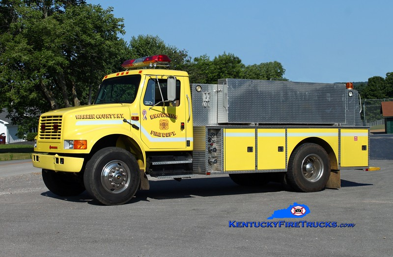 <center> RETIRED <br> Browning  Tanker 13 <br> 1990 International 4900/Wimpee's Welding 250/1500 <br> Kent Parrish photo </center>