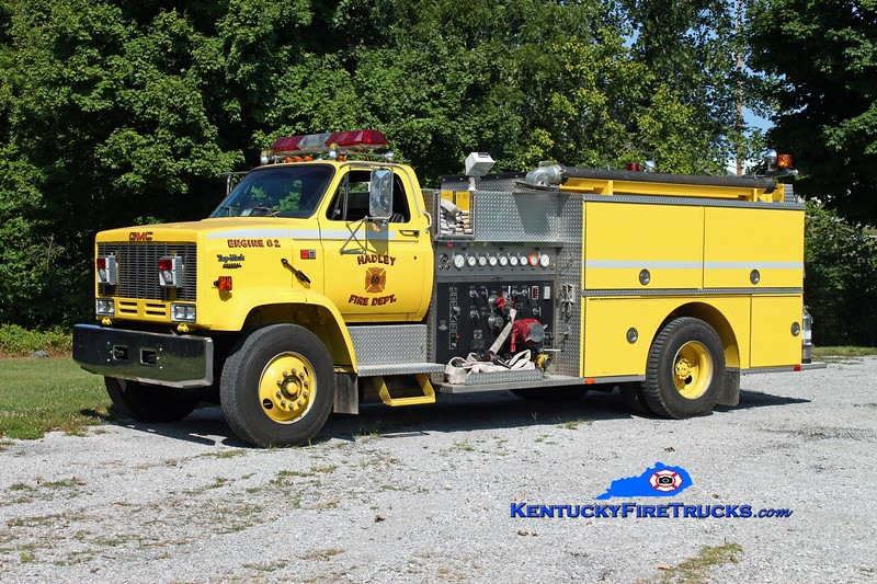 <center> Hadley  Engine 82 <br> x-Browning, KY <br> 1988 GMC TopKick/Quality 1000/1000 <br> Kent Parrish photo </center>
