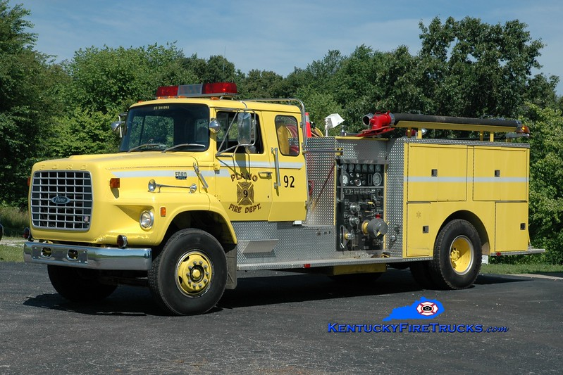<center> RETIRED <br> Plano  Engine 92 <br> 1982 Ford L8000/Pierce 1000/750 <br> Greg Stapleton photo </center>