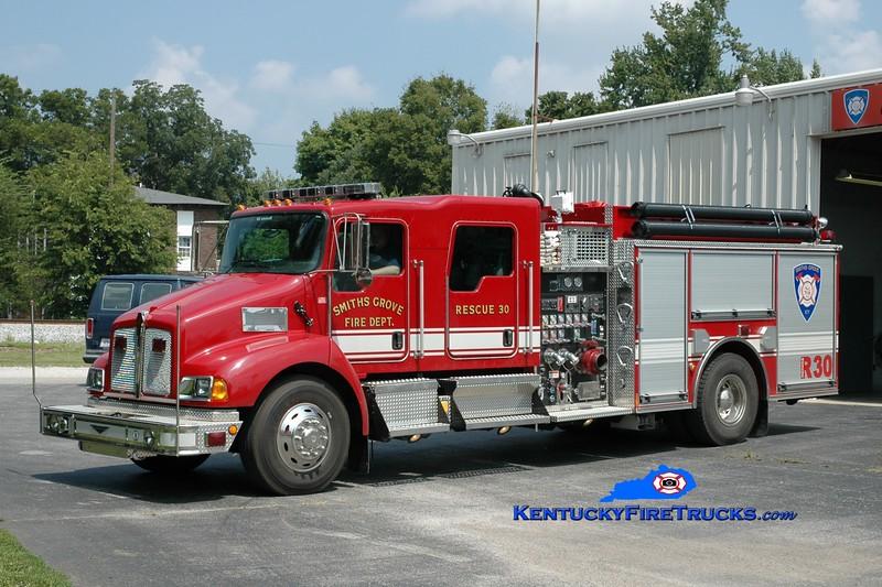 <center> RETIRED <br> Smiths Grove  Rescue 30 <br> 2005 Kenworth T-300/Pierce 1500/1000 <br> Greg Stapleton photo </center>