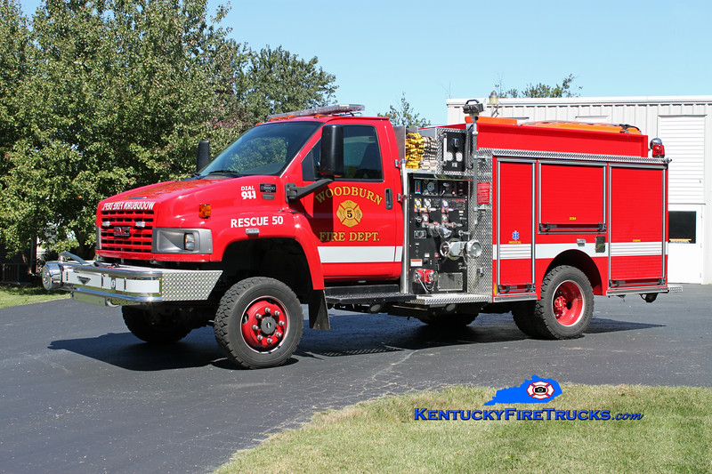 <center> Woodburn  Rescue 50 <br> 2006 GMC C5500 4x4/Pierce Contender 500/500/10 <br> Kent Parrish photo </center>