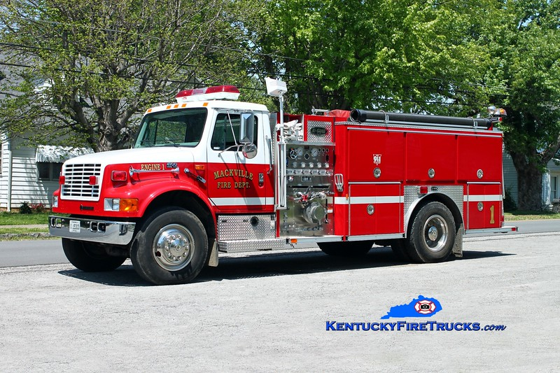 <center> Mackville  Engine 1 <br> 1997 International 4900/E-One 1250/1000 <br> Kent Parrish photo </center>