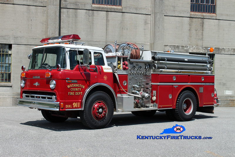 <center> Washington County  Engine 3  <br> x-Worthington (Jefferson County), KY <br> 1984 Ford C-8000/Grumman 1000/750 <br> Kent Parrish photo </center>