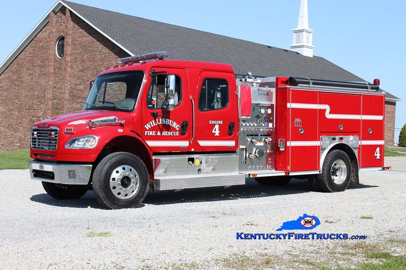 <center> Willisburg  Engine 4  <br> 2008 Freightliner M2/E-One 1250/1000 <br> Kent Parrish photo </center>