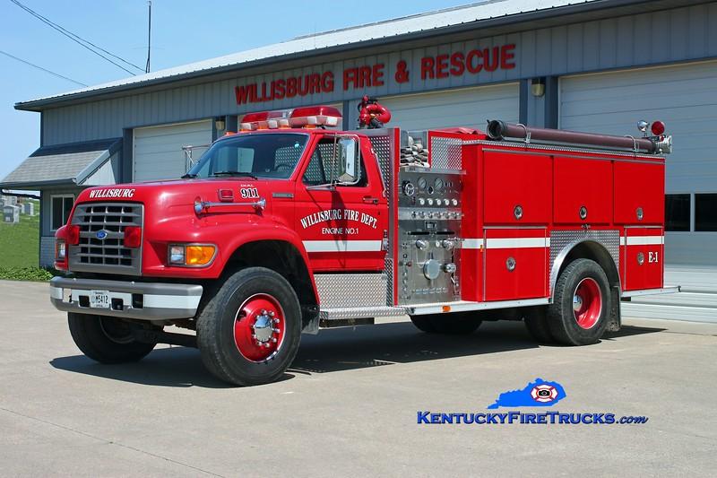 <center> Willisburg  Engine 1  <br> 1997 Ford F-800/E-One 1250/1000 <br> Kent Parrish photo </center>