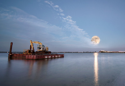 The disaster barge and the super moon.