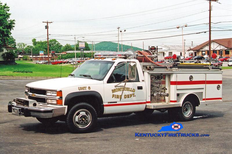 <center> RETIRED <BR> Monticello Engine 6  <br> 1994 Chevy 3500 4x4/1979 E-One 250/250 <br> Greg Stapleton photo </center>