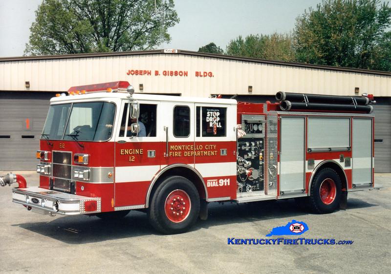<center> Monticello  Engine 12  <br> 1995 Pierce Saber 1250/1000 <br> Greg Stapleton photo </center>