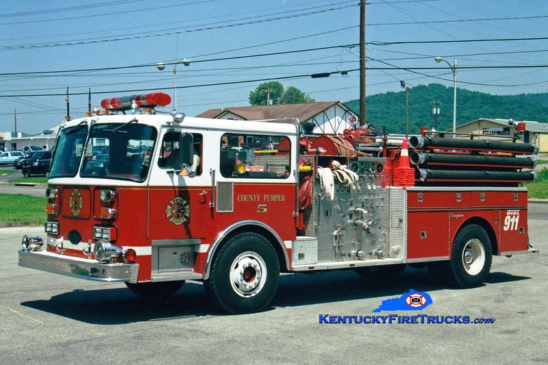 <center> RETIRED <BR> Monticello-Wayne County  Pumper 5  <br> x-Hockessin, DE <br> 1981 Seagrave HB 1500/1000 <br> Greg Stapleton photo </center>
